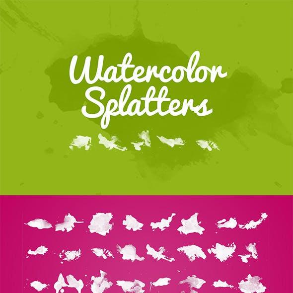32 Watercolor Splatters