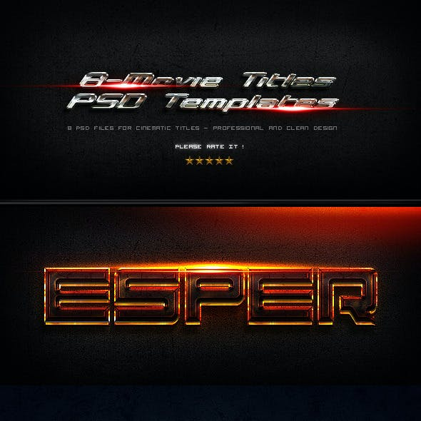 8 Movie Titles PSD Templates