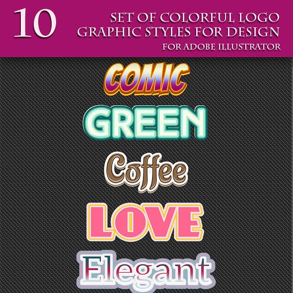 Set of Colorful Logo Graphic Styles for Design