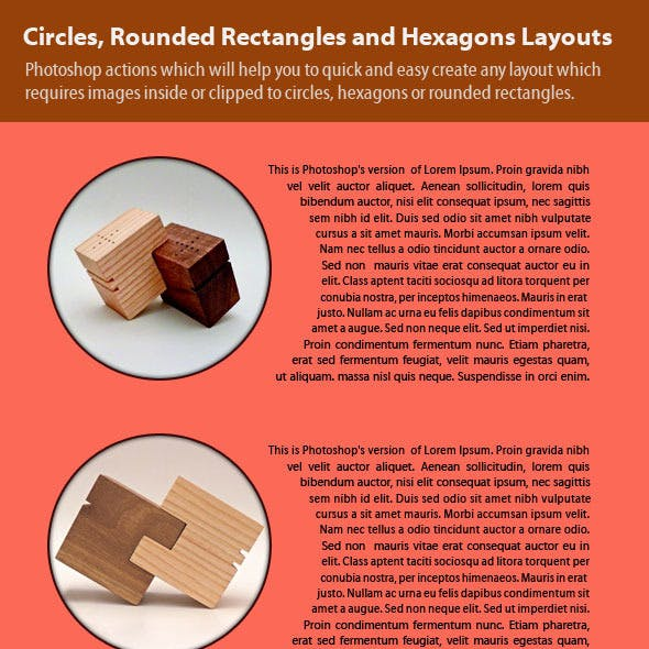 Circles, Rounded Rectangles and Hexagons Layouts