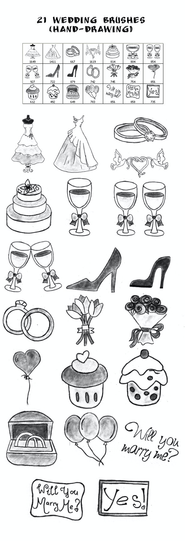 21 Wedding Brushes (hand-drawing) - Brushes Photoshop