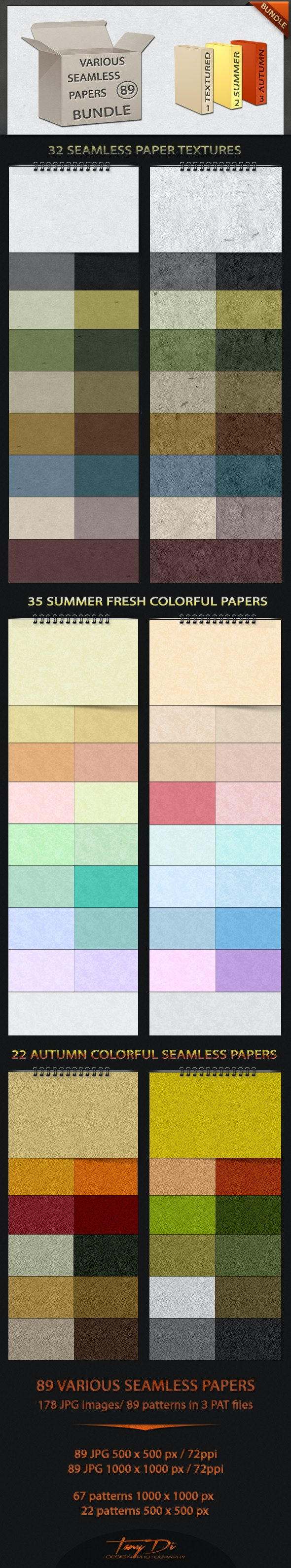 Various Seamless Papers Bundle - Miscellaneous Textures / Fills / Patterns