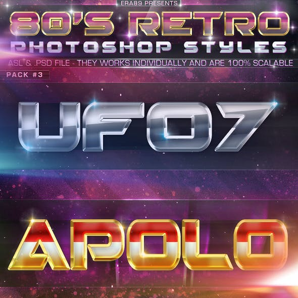 80's Retro Photoshop Styles Pack 3