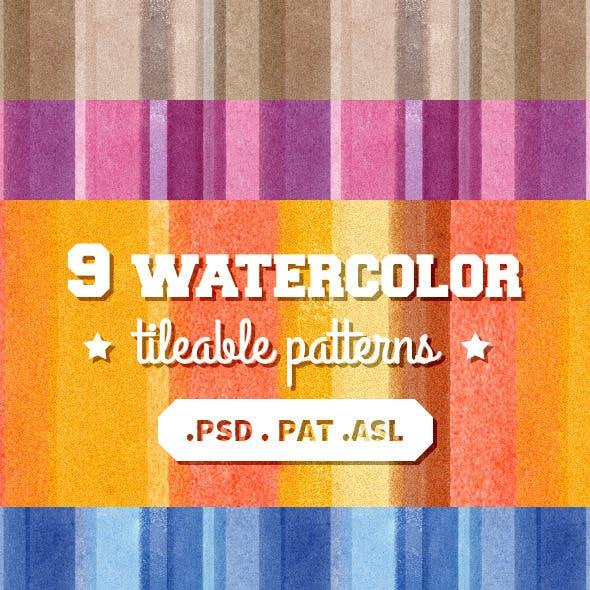 9 Tileable Watercolor Patterns