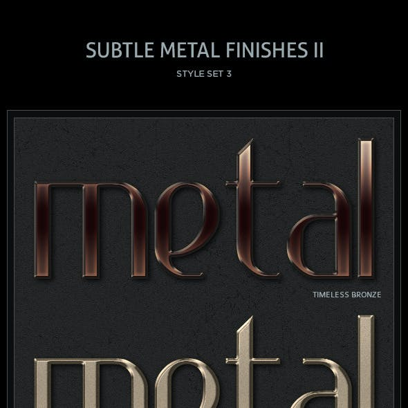 10 Subtle Metal Finishes II Text Styles