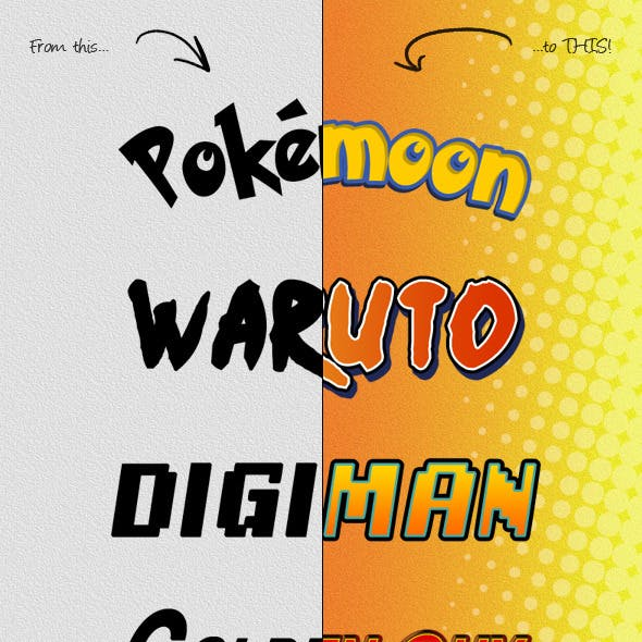 Photoshop Text Styles / Anime And Manga by Lifer | GraphicRiver