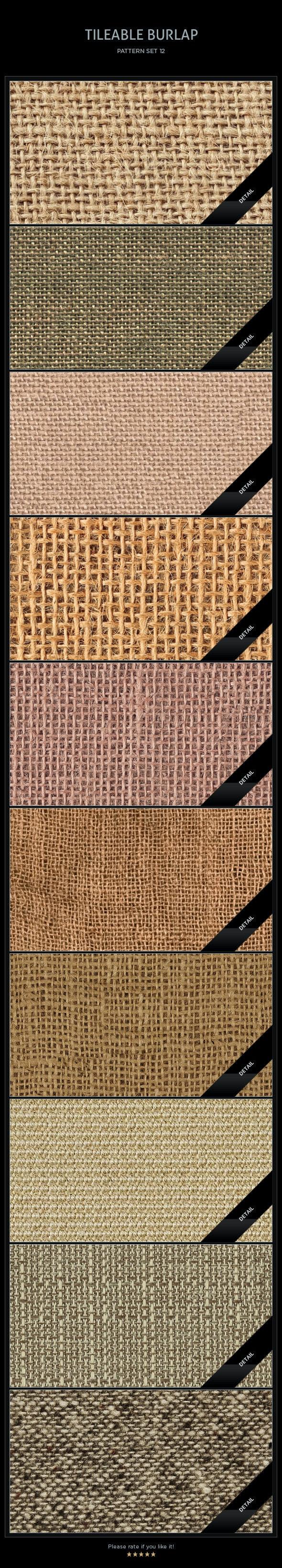 10 Tileable Burlap Textures/Patterns - Miscellaneous Textures / Fills / Patterns