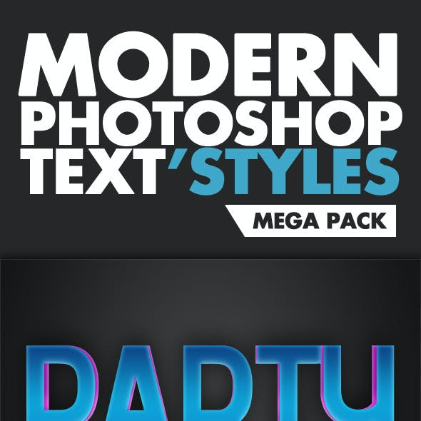 Modern Photoshop Text Style Mega Pack