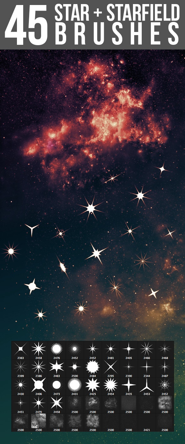 45 Star & Starfield Brushes - Brushes Photoshop