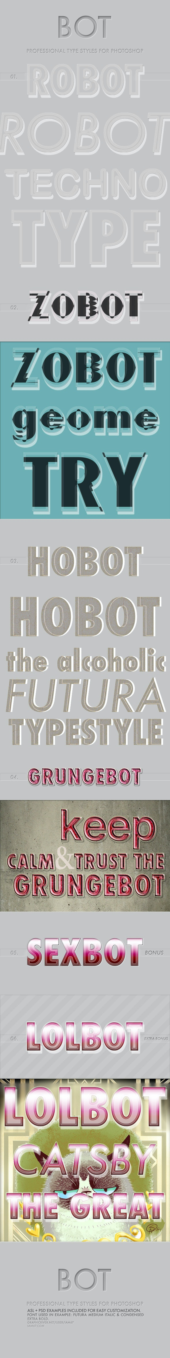 BOT - Typographic Photoshop Styles - Text Effects Actions