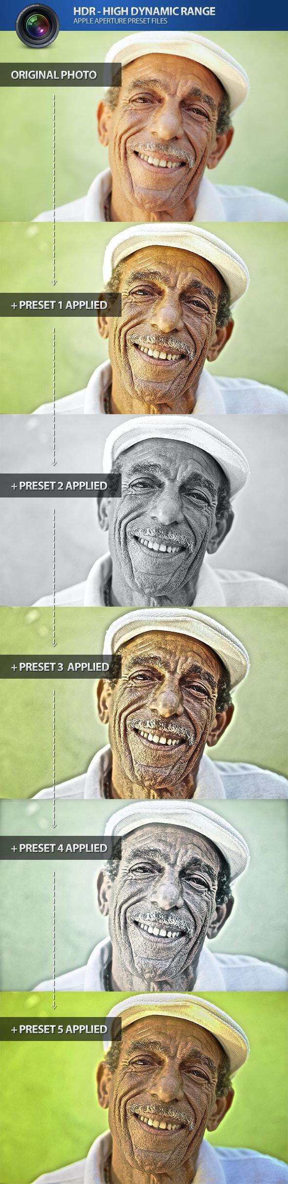 HDR High Dynamic Range Aperture Photo Presets - Aperture Presets Add-ons