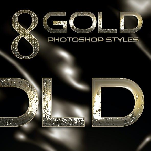 8 Gold Photoshop Styles