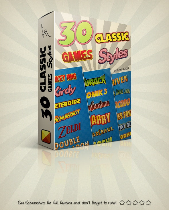 Photoshop Text Styles Bundle / Classic Games Pack - Styles Photoshop