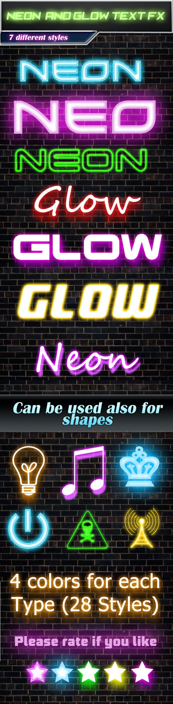 28 Neon And Glow Text Effects - Text Effects Actions