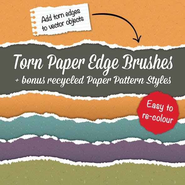 Torn Paper Edge Brushes + Bonus Paper Patterns