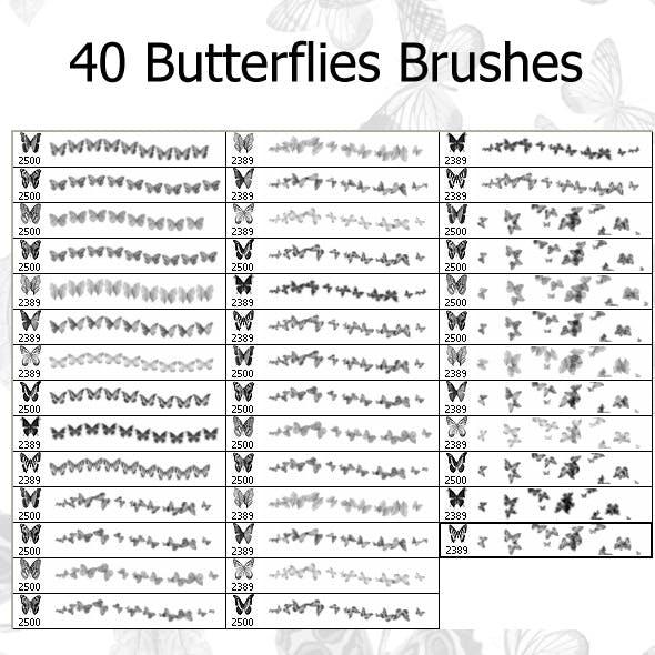 40 Butterflies Brushes (2500px)