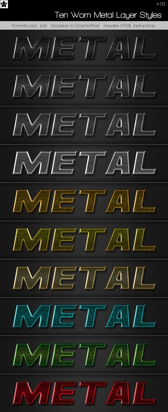 Ten Worn Metal Layer Styles - Text Effects Styles