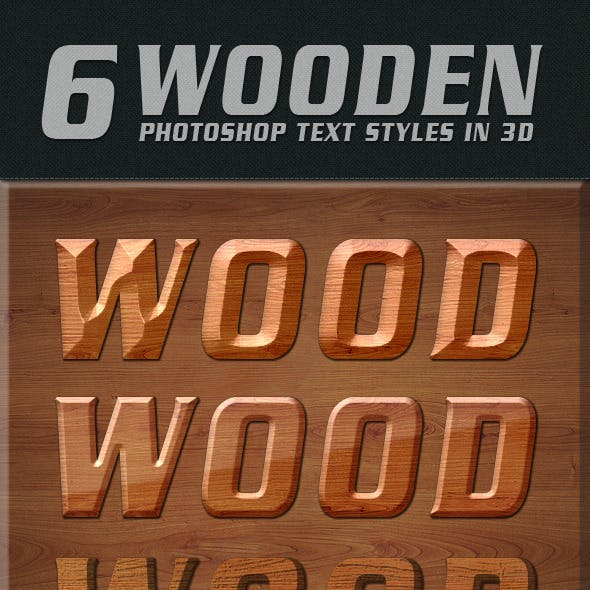 Photoshop Text Styles / Wooden