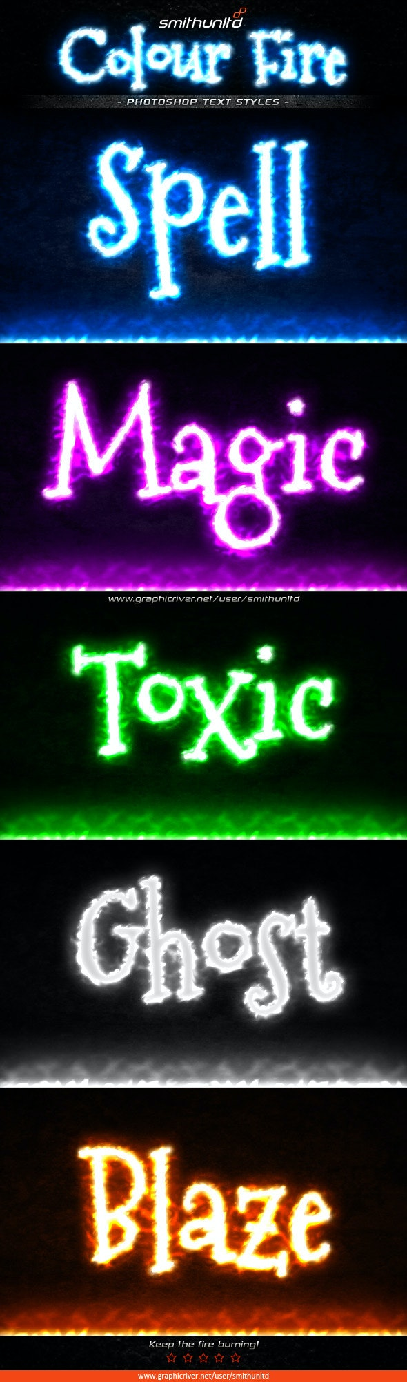 Colour Fire Text Styles - Text Effects Styles