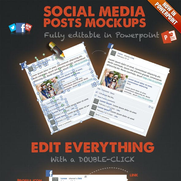 15 Social Media Posts Editable Mockups in PPT