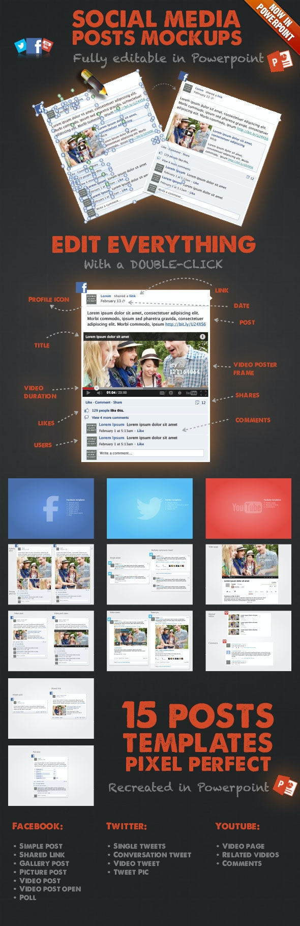 15 Social Media Posts Editable Mockups in PPT - Presentation Templates