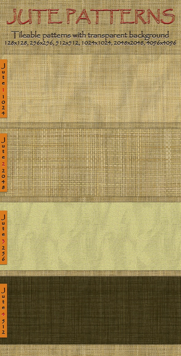 Jute Seamless Tiling Patterns - Nature Textures / Fills / Patterns