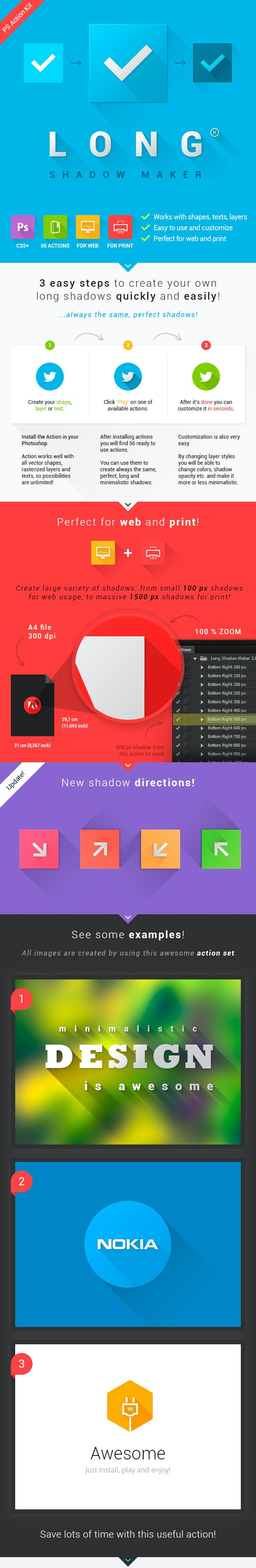 Long Shadow Maker - Actions Photoshop
