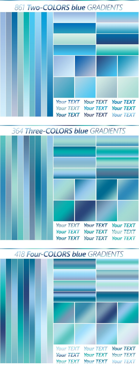 The Ultimate Blue Gradients Collection - Photoshop Add-ons