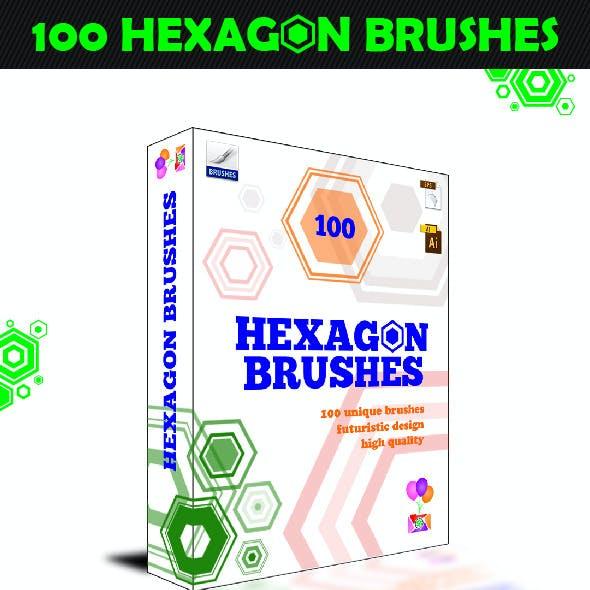 100 Hexagon Brushes - Photoshop Brushes