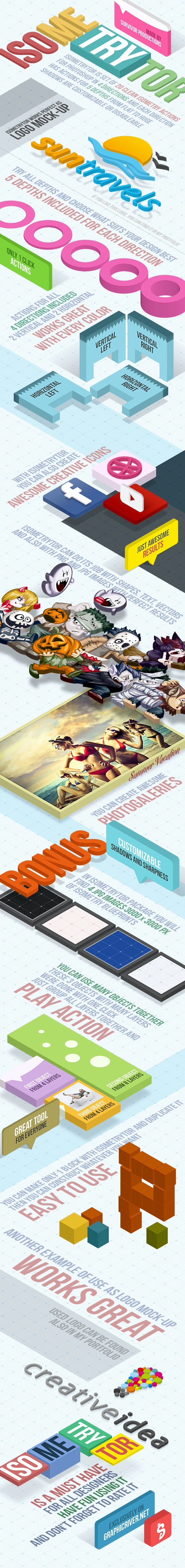 Isometry 3D Actions - Actions Photoshop