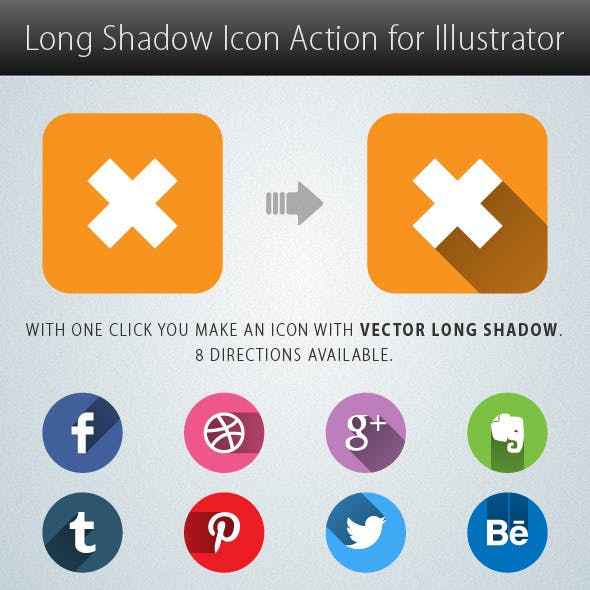 Long Shadow Icon Action for Illustrator