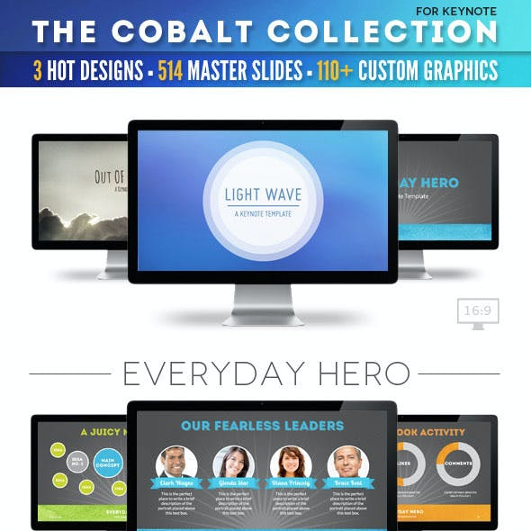 The Cobalt Collection of 3 Keynote Templates
