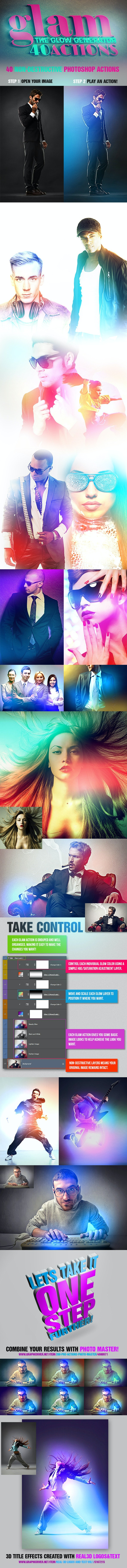 Glam - 40 Glow Generator Actions - Actions Photoshop
