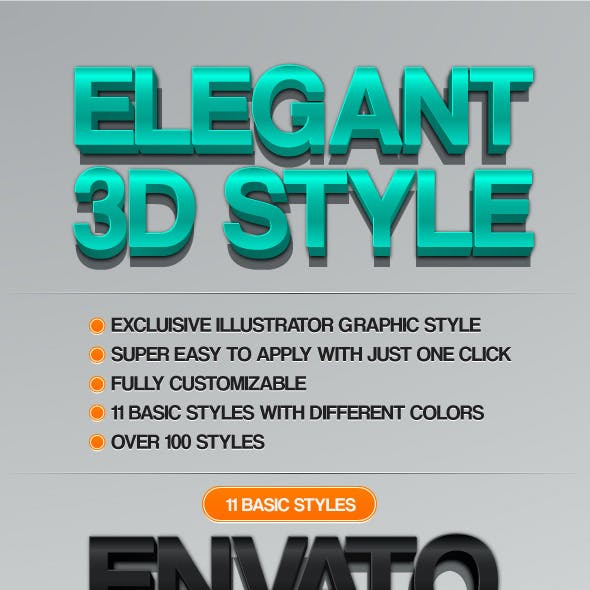 Elegant 3D - 3D Generator Style for Illustrator