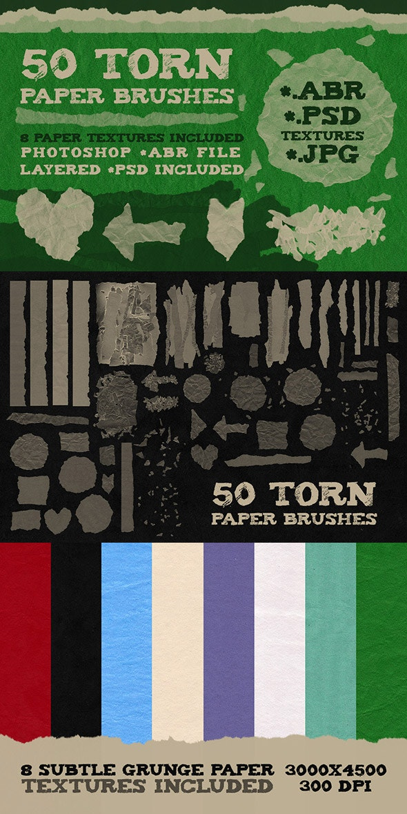 50 Torn Paper Brushes + 8 Textures - Grunge Brushes