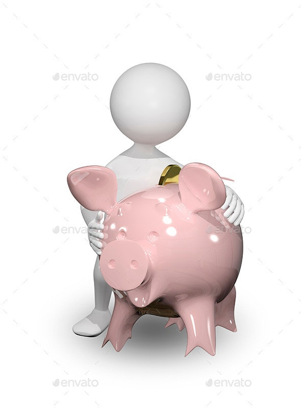 Man with Piggy Bank - Objects 3D Renders