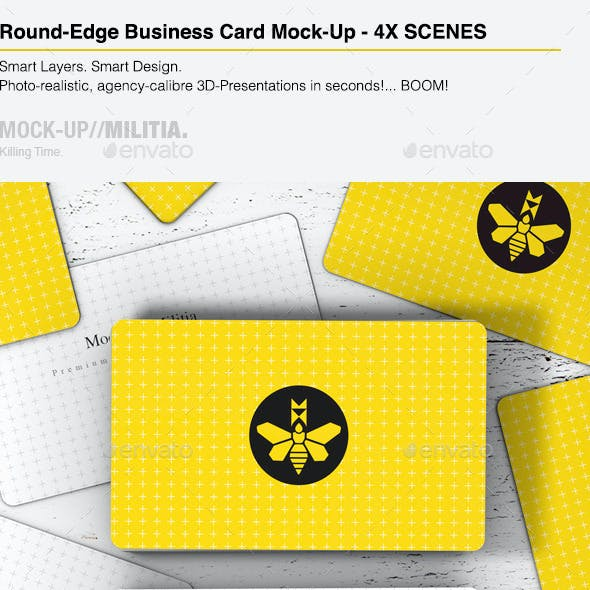 Rounded Corners Business Card Mock-Up | Stack