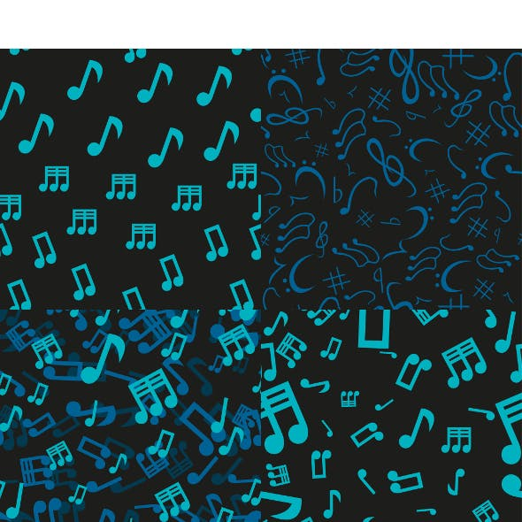 4 Musical Notes Seamless Patterns