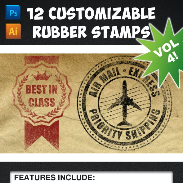 12 Customizable Rubber Stamps - Volume 4