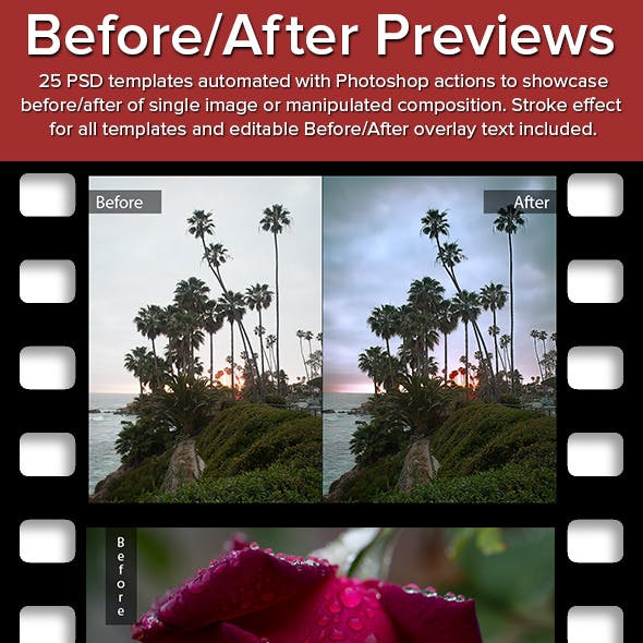 Before/After Preview Automated Photoshop Templates