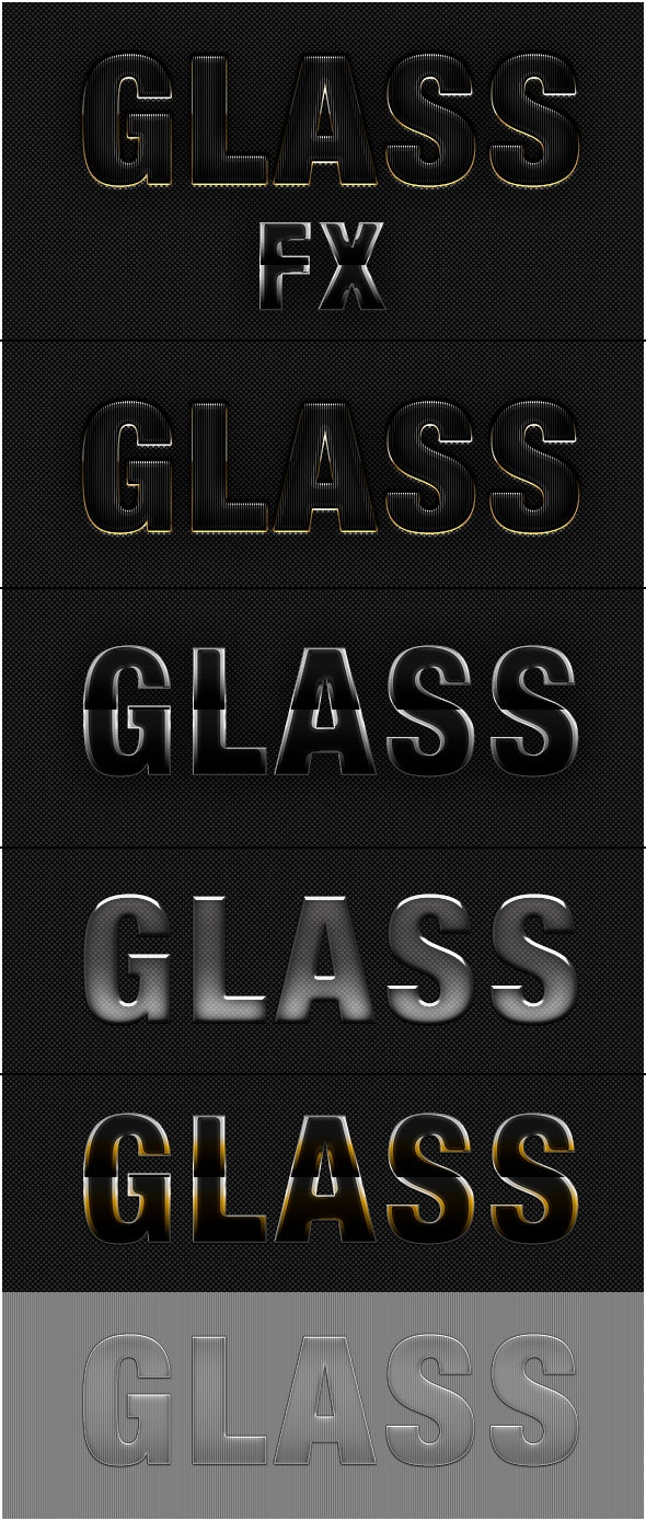 5 Glass Text Effect Photoshop Style - Text Effects Styles