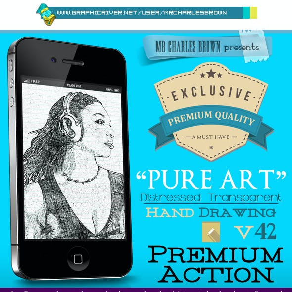 Pure Art Hand Drawing 42 – Distressed Transparent