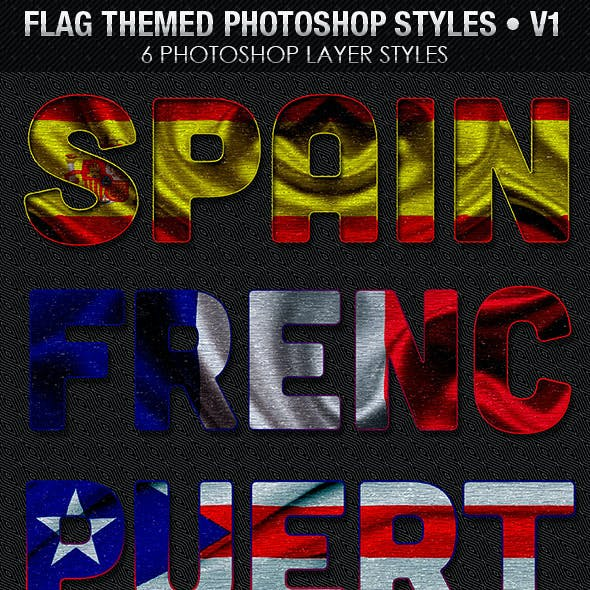 Flag Themed Photoshop Text Layer Styles - V1