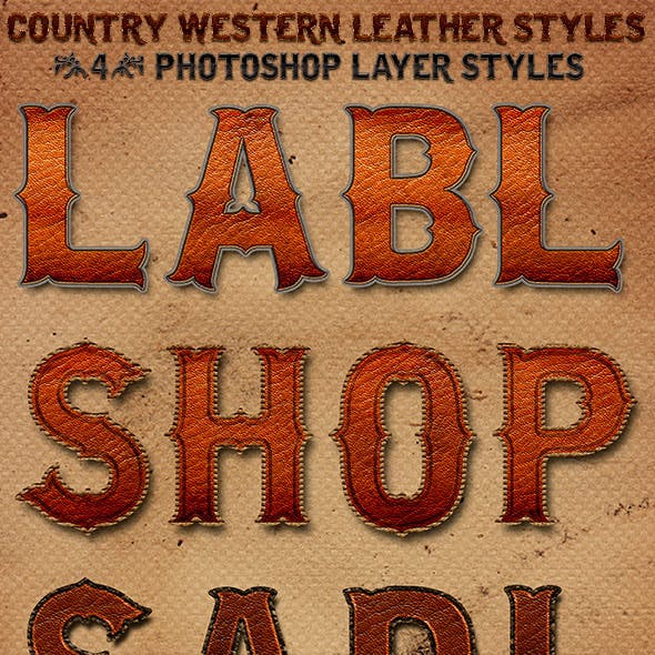 Country Western Leather Photoshop Layer Styles