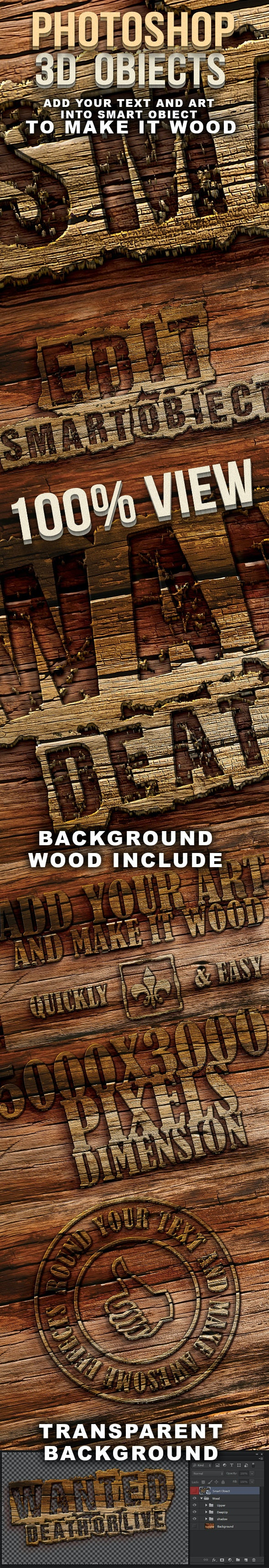 Photoshop 3D wood text - Text Effects Actions