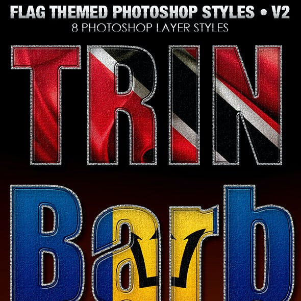 Flag Themed Photoshop Text Layer Styles V2