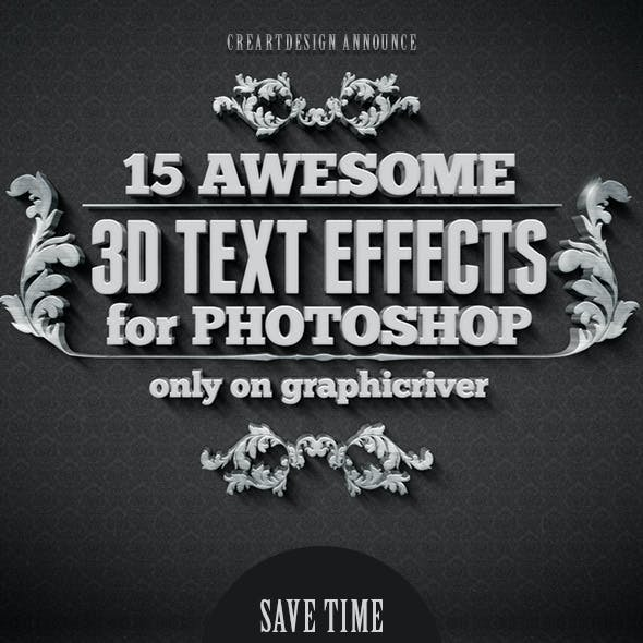 15 Various 3D Text Effects for Photoshop - Pack