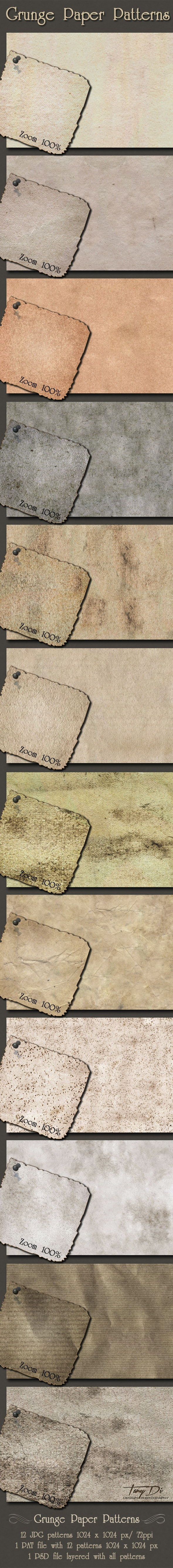 Grunge Paper Patterns - Miscellaneous Textures / Fills / Patterns