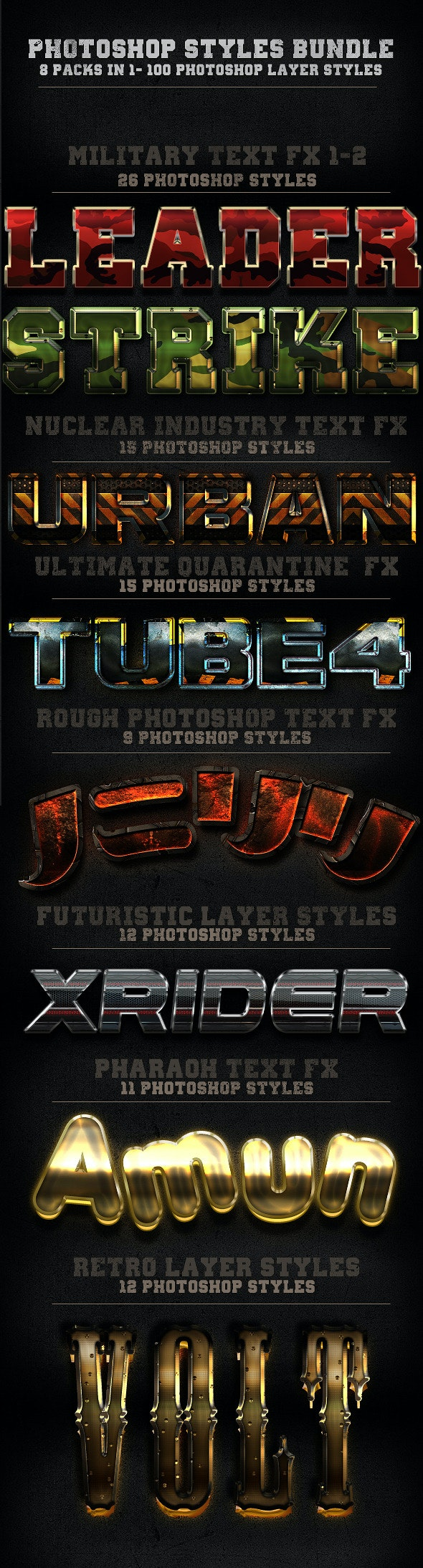 100 Photohop Styles - 8 In 1-The Bundle - Text Effects Styles
