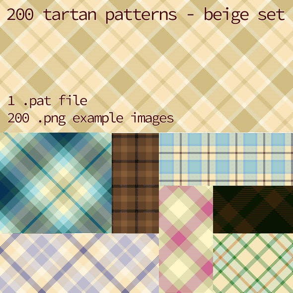 Tartan Pattern Collection - Beige set